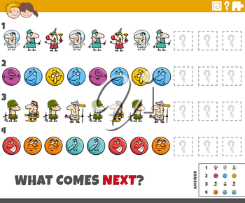 Cartoon illustration of completing the pattern educational game for children with comic characters