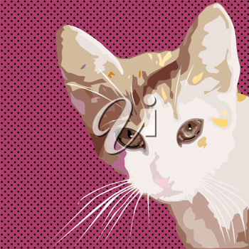 Royalty Free Clipart Image of a Pop-Art Cat