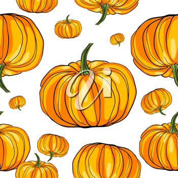 Royalty Free Clipart Image of a Seamless Pumpkin Background