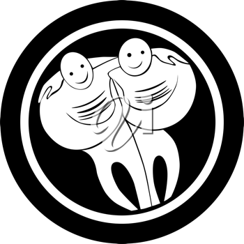 Royalty Free Clipart Image of a Stylized Gemini Icon