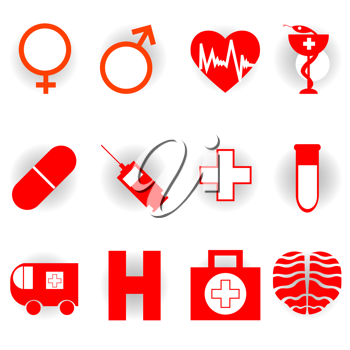 medical red icons collection isolated on white