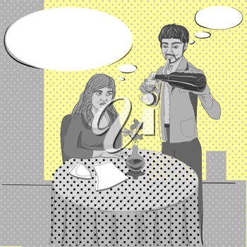 Pop art hand drawn illustration of two people conversation in a cozy restaurant with comics style speech bubbles