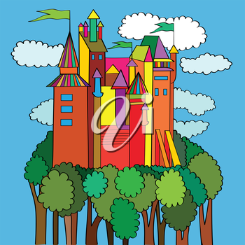 Royalty Free Clipart Image of a Castle on a Green Forest