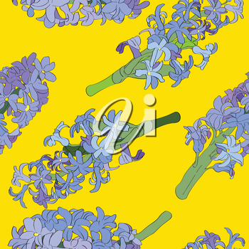 Hyacinth pattern over an yellow background