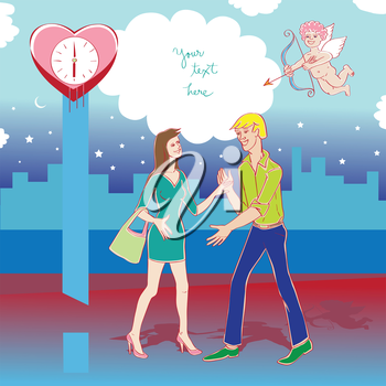 Valentine's Day card, Love Day cartoon illustration of two lovers meeting in the city and Cupid with bow and blank for text