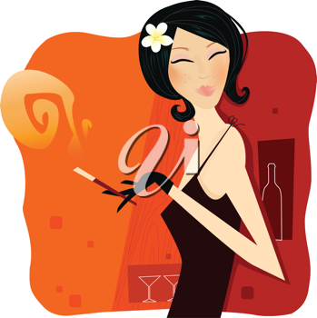 Royalty Free Clipart Image of a Woman Smoking in a Bar