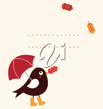 Autumn greeting Card Bird holding umbrella. Vector Illustration