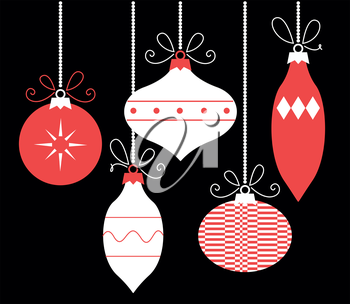 Xmas retro balls hanging on. Vector Illustration