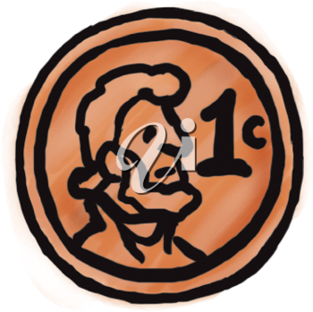Royalty Free Clipart Image of an American Penny