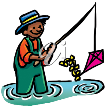 Royalty Free Clipart Image of a Man With a Kite on a Fishing Pole