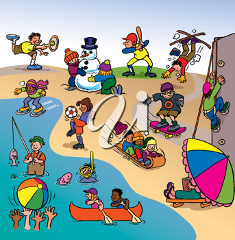 Royalty Free Clipart Image of People Doing Various Activities