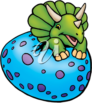 Royalty Free Clipart Image of a Triceratops Egg