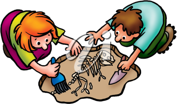 Royalty Free Clipart Image of People Finding Bones