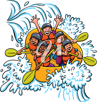 Royalty Free Clipart Image of Whitewater Rafters
