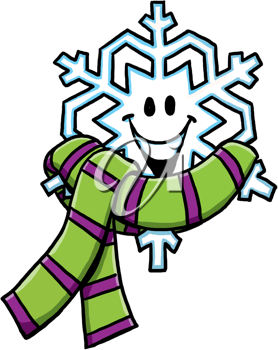 Royalty Free Clipart Image of a Snowflake With a Scarf