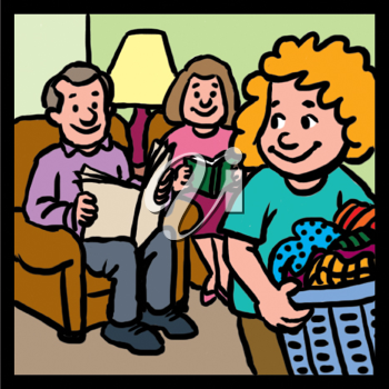 Royalty Free Clipart Image of a Child Doing Laundry