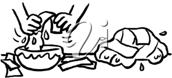 Royalty Free Clipart Image of Hands Doing Papier Mache