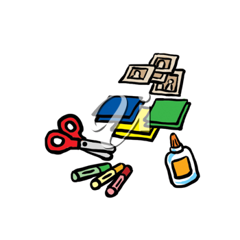 Royalty Free Clipart Image of Stamps, Paper, Glue, Crayons and Scissors