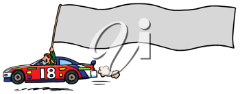 Royalty Free Clipart Image of a Race Car Driver and Pennant