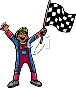 Royalty Free Clipart Image of a Guy Waving a Checkered Flag