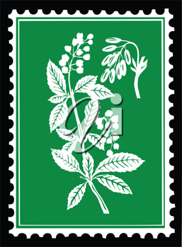 Royalty Free Clipart Image of a Plant Postage Stamp