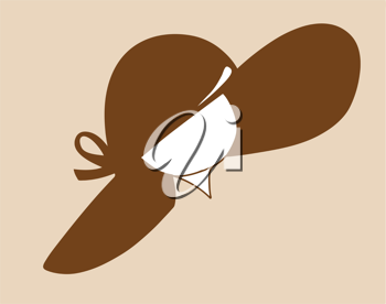 Royalty Free Clipart Image of a Woman Wearing a Hat