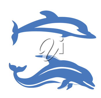 Royalty Free Clipart Image of Dolphins