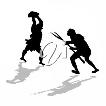 Royalty Free Clipart Image of Neanderthals