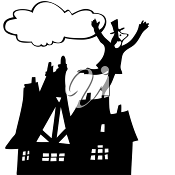 Royalty Free Clipart Image of a Man on the Roof