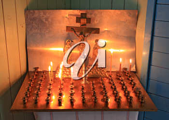 candles in rural orthodox church