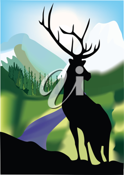 Royalty Free Clipart Image of a Stag Silhouette on a Mountain Scene