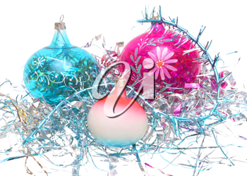 Christmas decorations - balloons, tinsel on a white background.