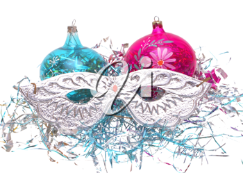 Christmas decorations: balloons, masks, tinsel on a white background.