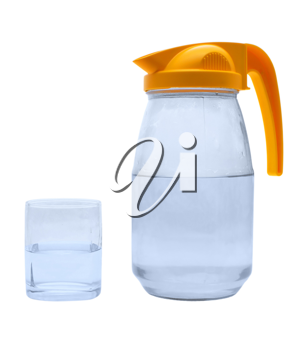 Jug, glass with water on a white background.