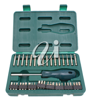 Set of the tool, screw-driver in a case on a white background.