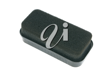 Sponge for cleaning of black footwear on a white background.