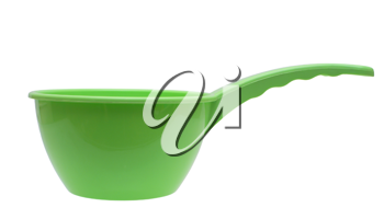 Green plastic ladle on a white background.