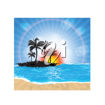 Royalty Free Clipart Image of a Beach, the Sea and an Island