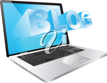 Royalty Free Clipart Image of a Laptop With the Word Blog