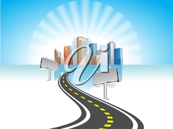 Royalty Free Clipart Image of Billboards Along a Highway Leading to a City