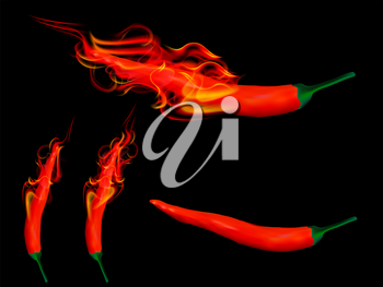 Royalty Free Clipart Image of Flaming Chili Peppers