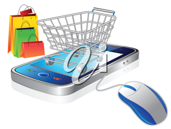 Royalty Free Clipart Image of a Shopping Cart on a Phone With a Mouse and Bags