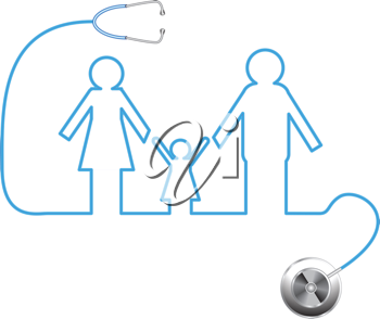 Royalty Free Clipart Image of a Family Outline From a Stethoscope Cord