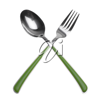 fork and spoon isolated on white