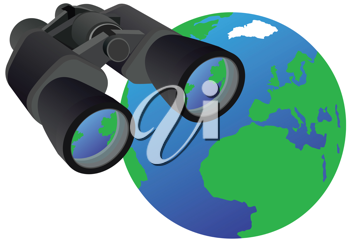 Royalty Free Clipart Image of a Binoculars and Earth