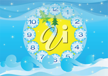Royalty Free Clipart Image of a Winter Clock