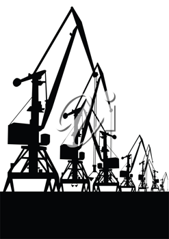 Royalty Free Clipart Image of Cranes in the Port
