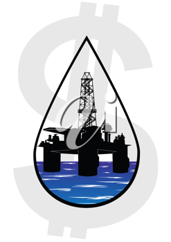 Royalty Free Clipart Image of Crude Oil Production