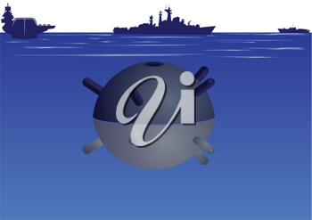 Royalty Free Clipart Image of a Naval Mine