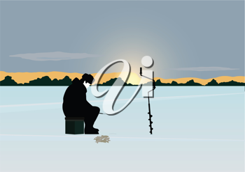 Royalty Free Clipart Image of a Man Fishing in the Winter